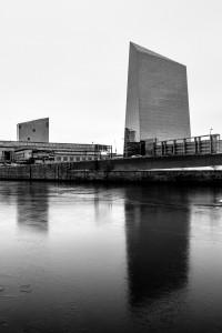 Cira Centre reflecting on an icy Schuylkill River, Philadelphia