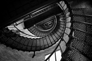 Looking up through the spiral staircase of the Currituck Lighthouse - Corolla, North Carolina (Outer Banks)