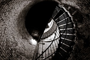 Looking up at the staircase near the top of the Currituck Lighthouse - Corolla, North Carolina (Outer Banks)