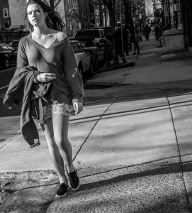 Young woman gazes at what is beyond - Philadelphia Street Photography