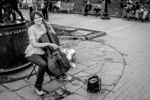 Young woman playing the cello in Rittenhouse Square Park - Philadelphia Street Photography