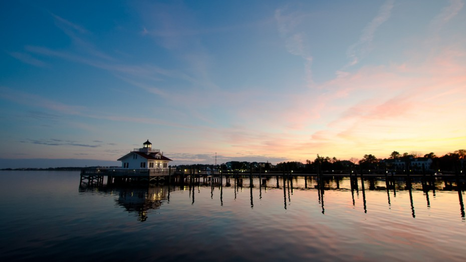 Roanoke Marshes Lighthouse At Dusk - Manteo, North Carolina