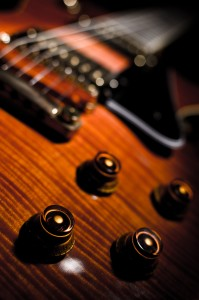 Interesting close perspective of a Les Paul guitar
